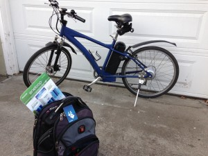 Electric Bike and Daypack with Eneloop Batteries and Clipper Card